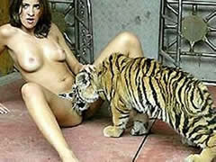 Tiger licking sexy girl